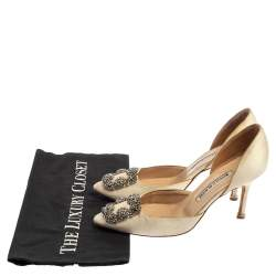 Manolo Blahnik White Satin Hangisi Crystal Embellished  D' Orsay Pumps Size 36