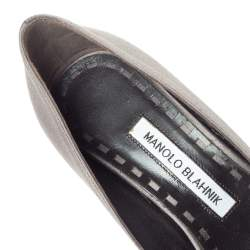 Manolo Blahnik Grey Satin Lurum Crystal Embellished Pumps Size 37