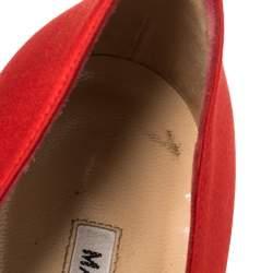 Manolo Blahnik Red Satin Crystal Embellished Leona Pumps Size 37.5