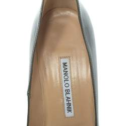 Manolo Blahnik Grey Metallic Leather Chain Link Pointed Toe Pumps Size 37