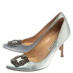 Manolo Blahnik Blue Satin Hangisi Crystal Embellished Pointed Toe Pumps Size 39
