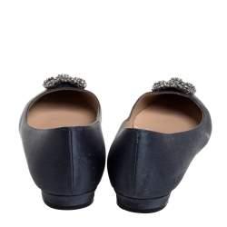 Manolo Blahnik Grey Satin Hangisi Embellished Ballet Flats Size 39.5