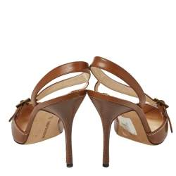 Manolo Blahnik Tan Leather Buckle Strap Pointed Toe Sandals Size 37
