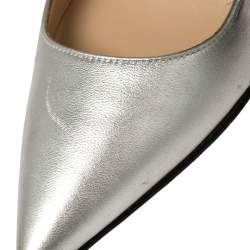 Manolo Blahnik Silver/Black Leather Osmana Pointed Toe Pumps Size 35.5