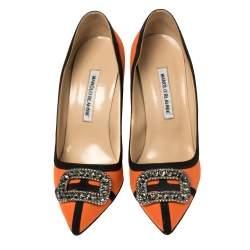 Manolo Blahnik Orange Satin Gotrian Crystal Embellished Pumps Size 40