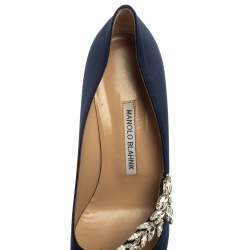 Manolo Blahnik Dark Blue Satin Nadira Pumps Size 39