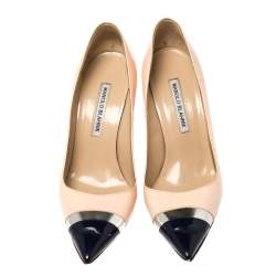 Manolo Blahnik Multicolor Patent Leather Bipunta Pointed Toe Pumps Size 38