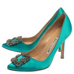 Manolo Blahnik Blue Satin Hangisi Crystal Embellished Pumps Size 35.5