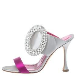 Manolo Blahnik Grey Satin Fibiona Crystal Embellished Mules Sandals Size 36.5