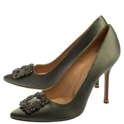 Manolo Blahnik Grey Satin Hangisi Pumps Size 40