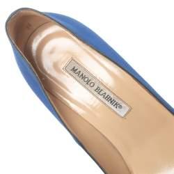 Manolo Blahnik Blue Satin Hangisi  Pumps Size 38.5