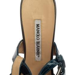 Manolo Blahnik Grey/Blue Croc Embossed And Leather Slingback Sandals Size 37