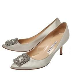 Manolo Blahnik Grey Satin Hangisi Pointed Toe Pumps Size 39
