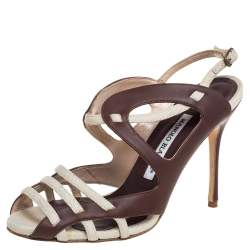 Manolo Blahnik Brown/White Leather and Canvas Strappy Slingback Sandals Size 36.5