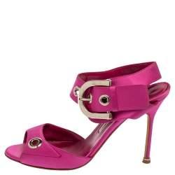 Manolo Blahnik Fuchsia Satin Eyelet Detail Ankle Strap Sandals Size 39.5