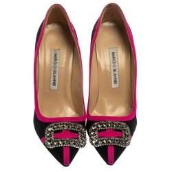 Manolo Blahnik Black/Pink Canvas Gotrian Crystal Embellished Pumps Size 37