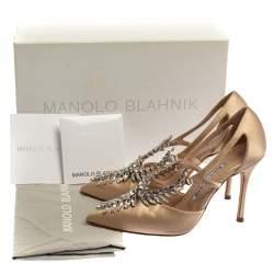 Manolo Blahnik Beige Satin Lala Crystal-Embellished Pumps Size 36