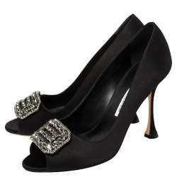 Manolo Blahnik Black Satin Matik Peep Toe Pumps Size 38