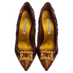 Manolo Blahnik Multicolor Fabric Brocade Slip On  Pumps Size 39.5