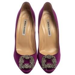 Manolo Blahnik Purple Satin Hangisi  Pumps Size 39.5
