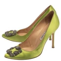 Manolo Blahnik Green Satin Hangisi  Pumps Size 39.5