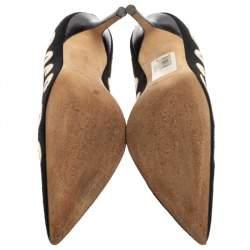 Manolo Blahnik Black/White Leather And Canvas  Pumps Size 39.5