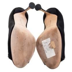 Manolo Blahnik Black Satin Matik Crystal Embellished Peep Toe Pumps Size 36.5