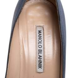 Manolo Blahnik Grey Satin Hangisi Pumps Size 38