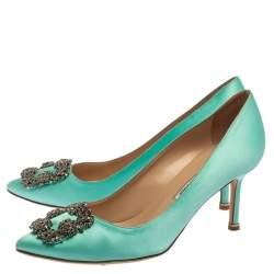 Manolo Blahnik Green Satin Hangisi Embellished Pointed Toe Pumps Size 39