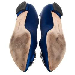 Manolo Blahnik Blue Satin Hangisi Embellished Ballet Flats Size 40.5