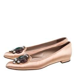Manolo Blahnik Beige Satin Hangisi Crystal Embellished Ballet Flats Size 35