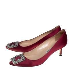 Manolo Blahnik Maroon Satin Hangisi Crystal Embellished Pointed Toe Pumps Size 37.5