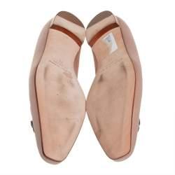 Manolo Blahnik Nude Satin Crystal Embellished Ballet Flats Size 41