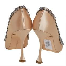 Manolo Blahnik Beige Satin Crystal Embellishment Pumps Size 40