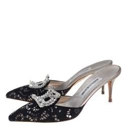 Manolo Blahnik Black Satin and Lace Borli Crystal Embellished Mule Sandals Size 39.5