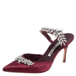 Manolo Blahnik Burgundy Satin Crystal Embellshed Lurum Sandals Size 38.5