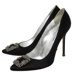 Manolo Blahnik Black Satin Hangisi Pointed Toe Pumps Size 42