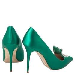 حذاء كعب عالي مانولو بلانيك مقدمة مدببة مزخرف كريستال بورلاك ساتان أخضر مقاس 40