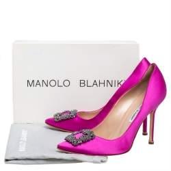 Manolo Blahnik Magenta Satin Hangisi Pumps Size 40