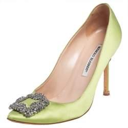 Manolo Blahnik Neon Green Satin Hangisi Pumps Size 39