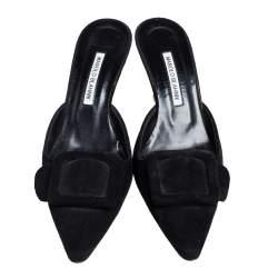 Manolo Blahnik Black Suede Maysale Mule Sandals Size 40.5