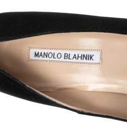 Manolo Blahnik Black Satin Hangisi  Pumps Size 42
