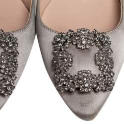 Manolo Blahnik Grey Satin Hangisi Ballet Flats Size 37.5