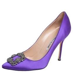 Manolo Blahnik Purple Satin Hangisi Pumps Size 39