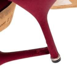 Manolo Blahnik Burgundy Satin Hangisi Pointed Toe Pumps Size 38