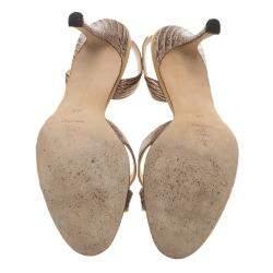 Manolo Blahnik Brown Lizard Emboss Leather Callasli Slingback Sandals Size 40