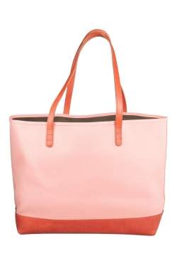 حقيبة يد منصور غافرييل كبيرة جلد وكانفاس وردية فاتحة / بنية