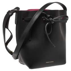 Mansur Gavriel Black Leather Mini Drawstring Bag