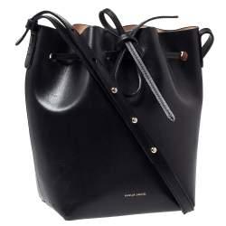 Mansur Gavriel Black Leather Drawstring Bucket Bag