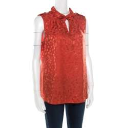 Marc by Marc Jacobs Red Wild Cherry Pattern Silk Jacquard Sleeveless Top M